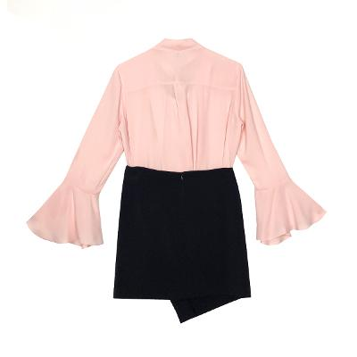 ribbon chiffon blouse & wrap mini skirt